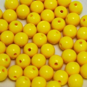 Beads, Acrylic, Yellow, Spherical, Diameter 8mm, NA, 10g, 30 Beads, (SLZ0095)